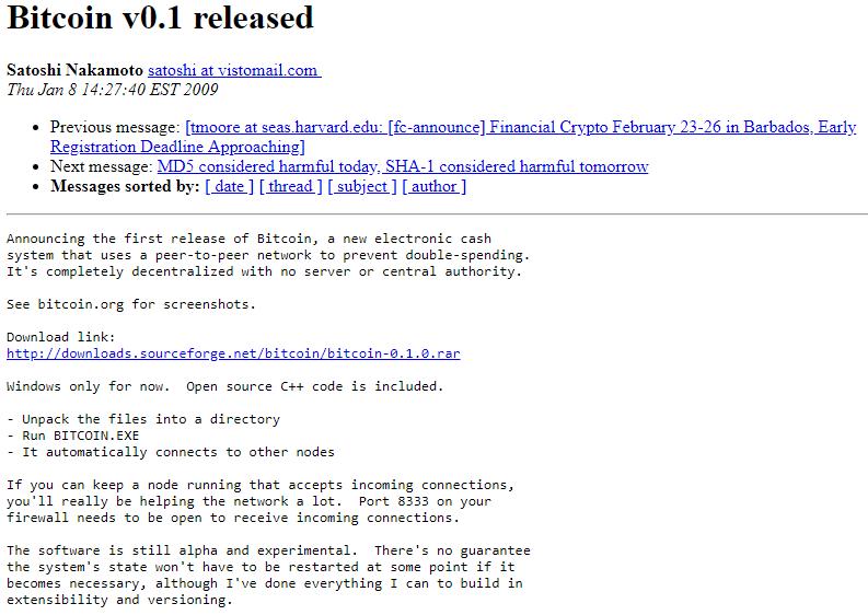 Bitcoin v0.1 Release